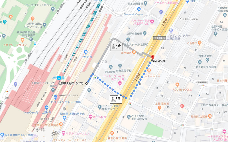 上野メンズエステ|Uroomのアクセスマップ